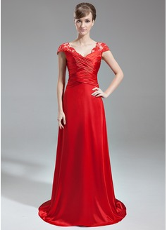 A-Line/Princess V-neck Sweep Train Charmeuse Lace Evening Dress With Ruffle Beading