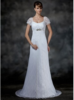 Empire Scoop Neck Sweep Train Satin Lace Wedding Dress With Beadwork (002000214)