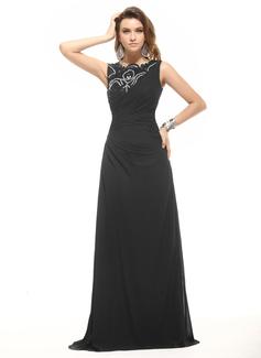 Corte A/Princesa Escote redondo Vestido Chifón Vestido de noche con Volantes Encaje Bordado