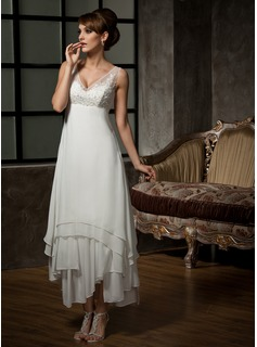 A-Line/Princess V-neck Ankle-Length Chiffon Tulle Wedding Dress With Lace (002012655)