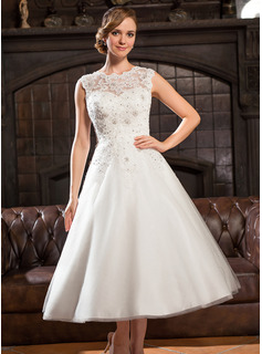 A-Line/Princess Scoop Neck Tea-Length Tulle Lace Wedding Dress With Beading Sequins