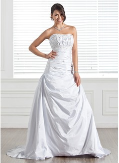 Corte A/Princesa Escote corazón Tren de la corte Tafetán Vestido de novia con Volantes Bordado Lentejuelas