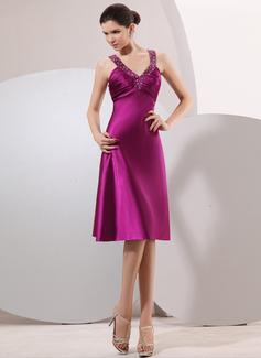 Empire V-neck Knee-Length Charmeuse Cocktail Dress With Ruffle Beading