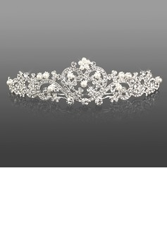 Silver Alloy Rhinestone And Pearl Cutout Heart Bridal Tiara(042008193)