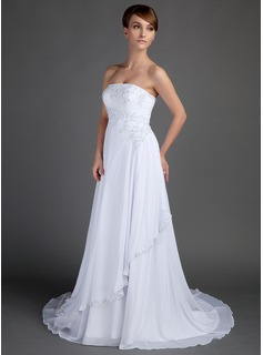 A-Line/Princess Strapless Court Train Chiffon Wedding Dress With Lace Beading