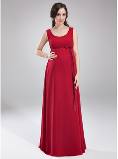 Empire Scoop Neck Floor-Length Chiffon Charmeuse Maternity Bridesmaid Dress With Sash (045004414)