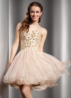 A-Line/Princess Halter Short/Mini Taffeta Organza Homecoming Dress With Beading