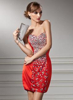 Vestido tubo Escote corazón Corto/Mini Charmeuse Con lentejuelas Baile de promoción con Bordado
