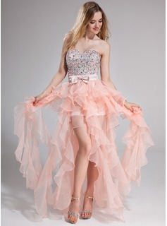 A-Line/Princess Sweetheart Floor-Length Organza Charmeuse Prom Dress With Beading
