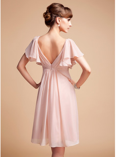 Empire Sweetheart Knee-Length Chiffon Bridesmaid Dress With Cascading Ruffles