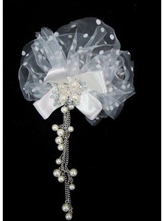 Gorgeous Tulle With Imitation Pearls Wedding Bridal Headpiece   (042025229)