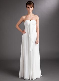 Corte imperial Escote corazón Vestido Chifón Vestido de novia con Cascada de volantes