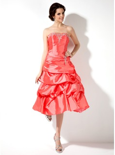 A-Line/Princess Sweetheart Tea-Length Taffeta Homecoming Dress With Embroidered Ruffle Beading (022022501)