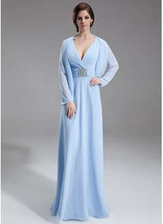 Vestidos princesa/ Formato A Decote V Longos De chiffon Vestido para a mãe da noiva com Pregueado Bordado