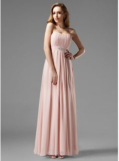 A-Line/Princess Sweetheart Floor-Length Chiffon Bridesmaid Dress With Ruffle Beading (007004093)