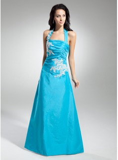 A-Line/Princess Halter Floor-Length Taffeta Prom Dress With Embroidered Ruffle (018014957)