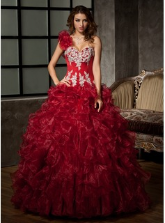 Ball-Gown One-Shoulder Floor-Length Organza Satin Quinceanera Dress With Embroidered Ruffle Beading Sequins (021020578)
