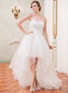 A-Linie/Princess-Linie Herzausschnitt Asymmetrisch Organza Brautkleid mit Rüschen Perlen verziert Pailletten