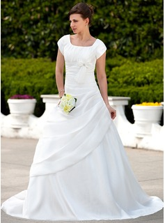 A-Line/Princess Square Neckline Court Train Taffeta Wedding Dress With Ruffle Beadwork (002001626)