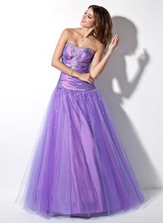 Corte A/Princesa Escote corazón Vestido Tafetán Tul Vestido de baile de promoción con Volantes Bordado