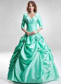 Corte de baile Escote corazón Vestido Tafetán Vestido de quinceañera con Volantes Bordado Flores