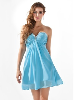Empire V-neck Short/Mini Chiffon Homecoming Dress With Ruffle Beading (022008987)