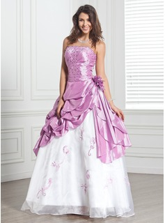 Ball-Gown Strapless Floor-Length Taffeta Organza Quinceanera Dress With Embroidered Beading Flower(s) (021020890)