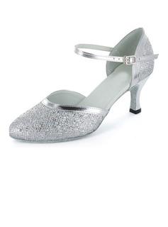 De mujer Brillo Chispeante Tacones Salón Estilo Moderno Sala de Baile con Tira de tobillo Zapatos de danza