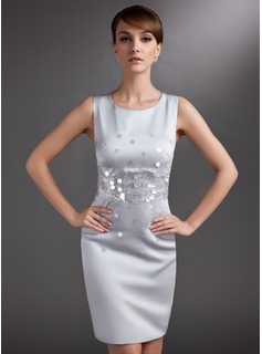 Sheath Scoop Neck Knee-Length Satin Mother of the Bride Dress With Sequins (008006017)