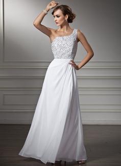 Corte A/Princesa Un sólo hombro Vestido Chifón Vestido de baile de promoción con Bordado Lentejuelas