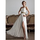 A-Line/Princess One-Shoulder Floor-Length Chiffon Prom Dress With Ruffle Beading (018020706)