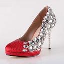 Women's Satin Cone Heel Closed Toe Platform Pumps With Rhinestone Sparkling Glitter Crystal Heel (047031211)