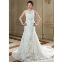 A-Line/Princess V-neck Chapel Train Organza Wedding Dress With Lace Beading (002004780)