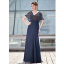A-Line/Princess V-neck Floor-Length Chiffon Mother of the Bride Dress With Beading (008018938)