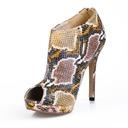 De mujer Cuero Tacón stilettos Encaje Botas al tobillo con Estampado de animales zapatos (088016951)