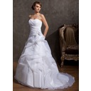 A-Line/Princess Sweetheart Court Train Organza Wedding Dress With Beading Appliques Lace Flower(s) (002014843)