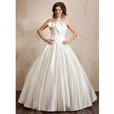 Ball-Gown V-neck Floor-Length Satin Wedding Dress With Ruffle Bow(s)