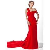 A-Linie/Princess-Linie Schulterfrei Watteau-falte Chiffon Kleid für die Brautmutter mit Rüschen