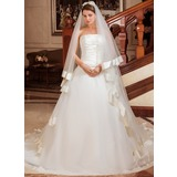 Ball-Gown Strapless Chapel Train Satin Organza Wedding Dress With Cascading Ruffles