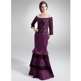 Trumpet/Mermaid Off-the-Shoulder Floor-Length Satin Lace Mother of the Bride Dress With Beading