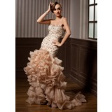 Mermaid Sweetheart Court Train Organza Satin Prom Dress With Beading (018021096)