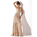 A-Line/Princess One-Shoulder Sweep Train Chiffon Mother of the Bride Dress With Ruffle Beading (008006056)