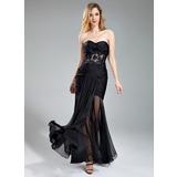 Trompete/Meerjungfrau-Linie Herzausschnitt Bodenlang Chiffon Abendkleid mit Rüschen Perlen verziert Applikationen Spitze