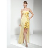 Sheath Sweetheart Floor-Length Chiffon Cocktail Dress With Ruffle Beading Sequins (016008377)