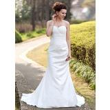 Trumpet/Mermaid Sweetheart Court Train Taffeta Wedding Dress With Ruffle