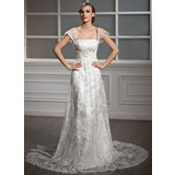 Sheath/Column Square Neckline Chapel Train Satin Lace Wedding Dress With Ruffle Beadwork Sequins (002004755)