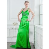 Sheath V-neck Court Train Charmeuse Prom Dress With Beading Sequins (018005236)