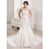 Mermaid V-neck Chapel Train Satin Tulle Wedding Dress With Lace Beadwork (002000330)