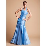 Mermaid Halter Floor-Length Taffeta Bridesmaid Dress With Ruffle (007004567)