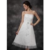 A-Linie/Princess-Linie Herzausschnitt Knielang Chiffon Tüll Spitze Brautkleid mit Rüschen Kristalle Blumen Brosche Gestufte Rüschen